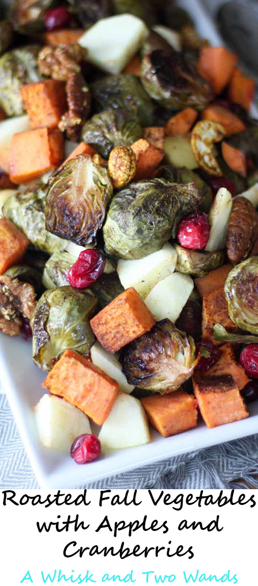 Roasted Fall Vegetables with Apples and Cranberries Gluten free and vegan