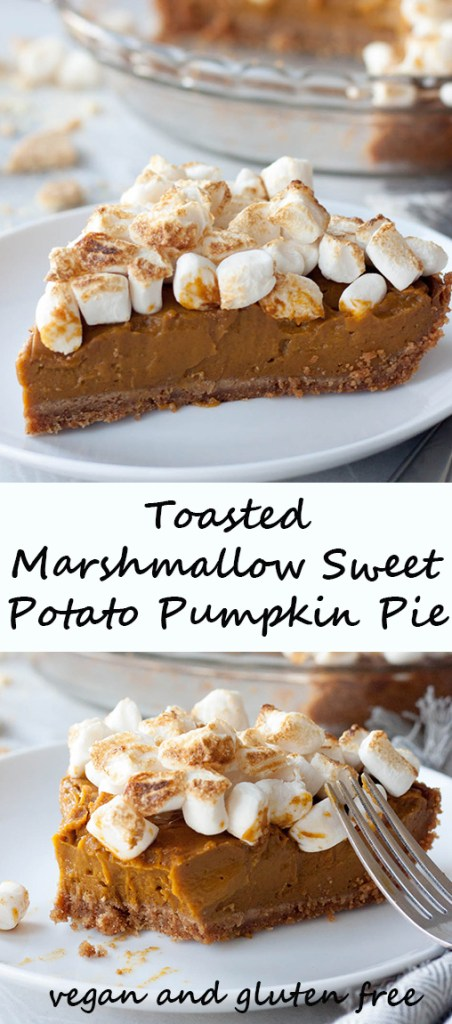 Nothing screams Thanksgiving like Toasted Marshmallow Sweet Potato Pumpkin Pie! (vegan, dairy free, egg free, nut free, and gluten free friendly)