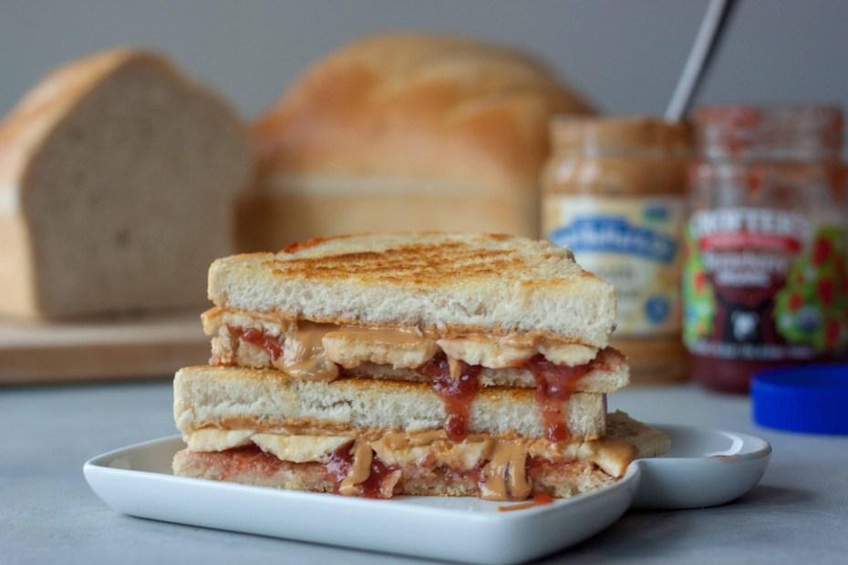 Grilled Peanut Butter Jam Banana Sandwich