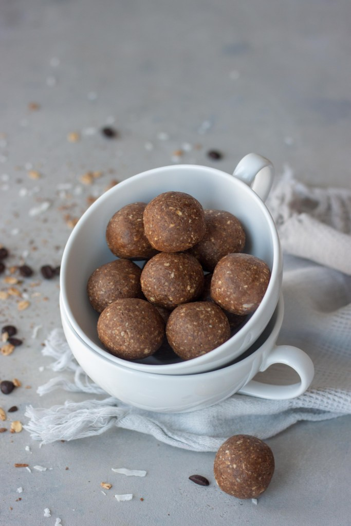 Coffee cup with snack Cocoa & Coffee Coconut Bliss Bites