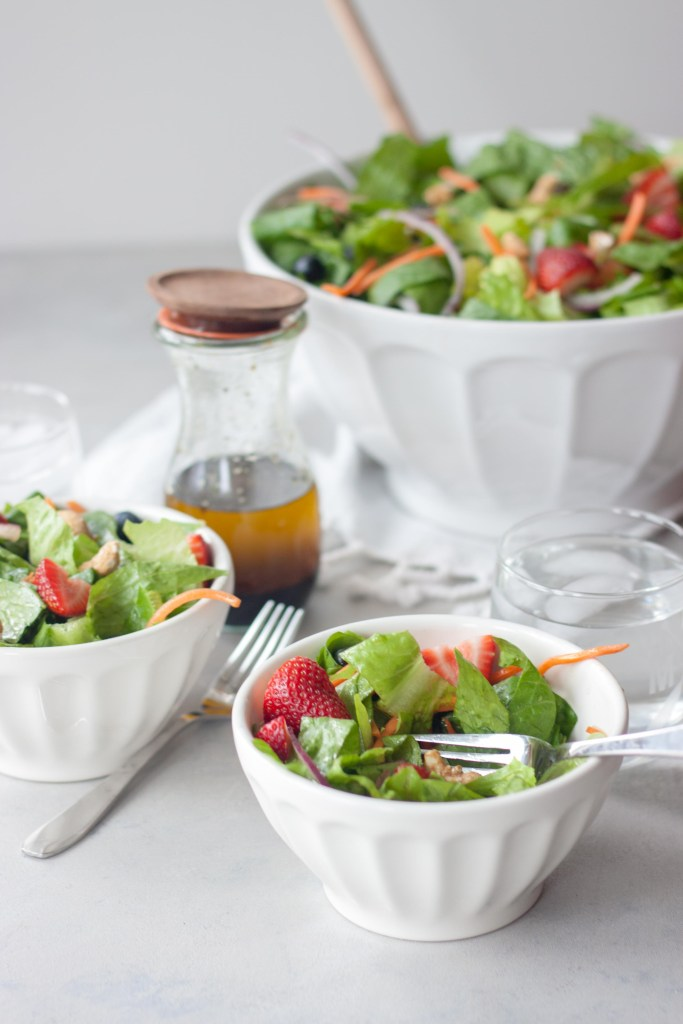 Bowls of Spring Berry Romaine Salad
