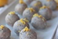 Tray of No Bake Lemon Chia Coconut Glazed Donut Holes