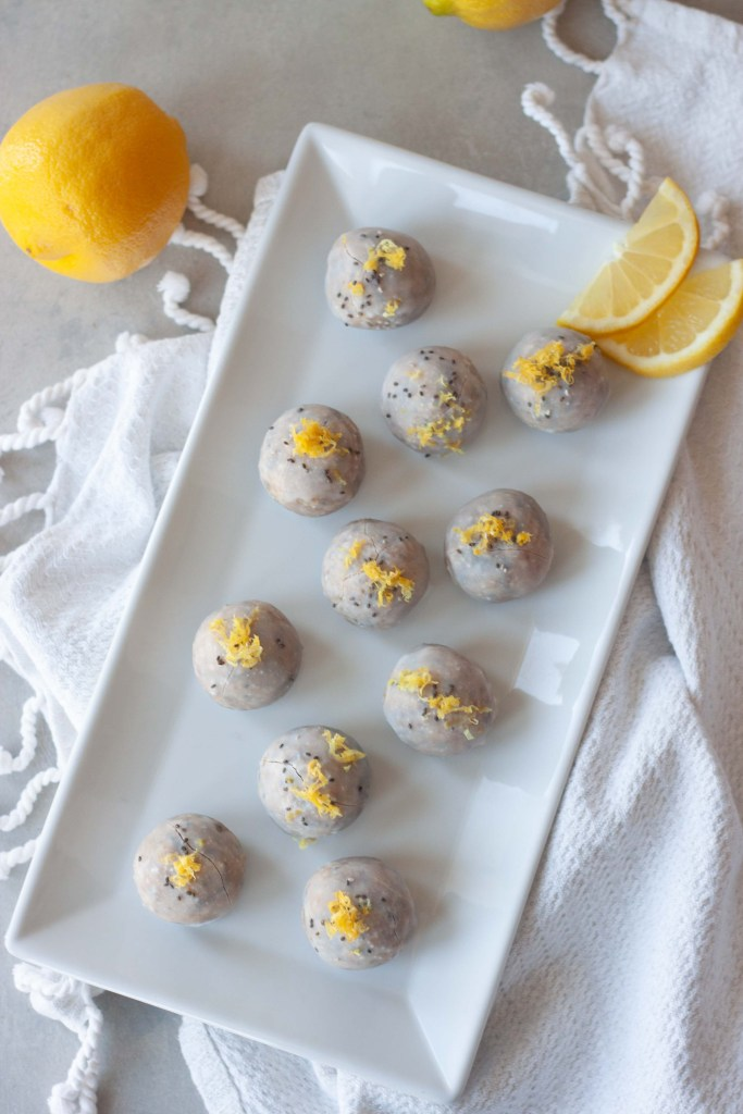 No Bake Chia Coconut Glazed Donut Holes on a tray