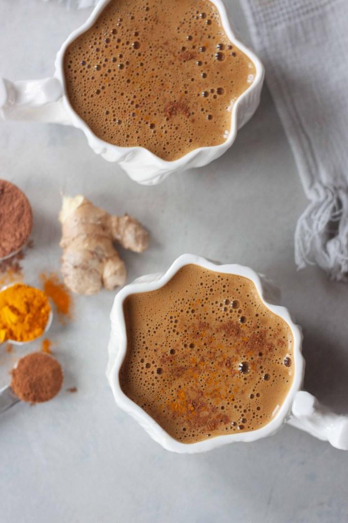 Turmeric Hot Cocoa in mugs