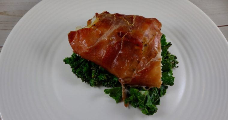 Prosciutto Wrapped Cod with Sautéed Kale