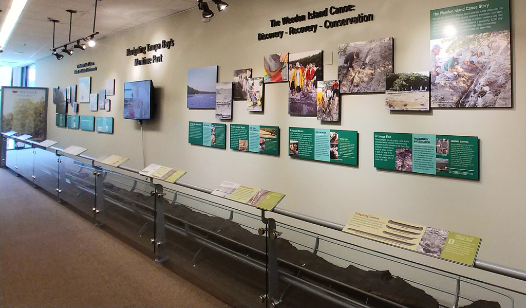 Weedon Island Cultural Center exhibit of ancient dugout canoe