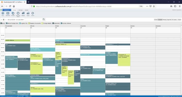 okna czasowe - kalendarz tygodniowy