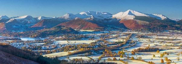 UK, England, Cumbria, Lake District, Keswick, frosty valley floor north of Keswick
