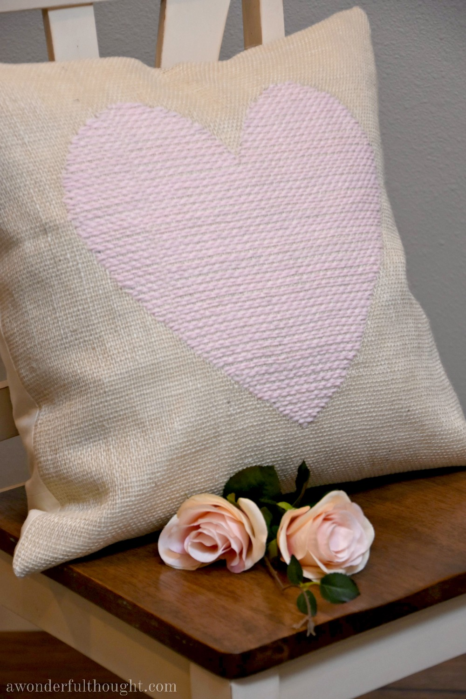 DIY Woven Heart Burlap Pillow   awonderfulthought.com