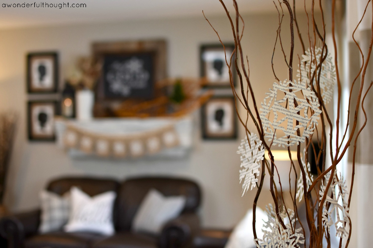 Rustic Winter Mantel | awonderfulthought.com