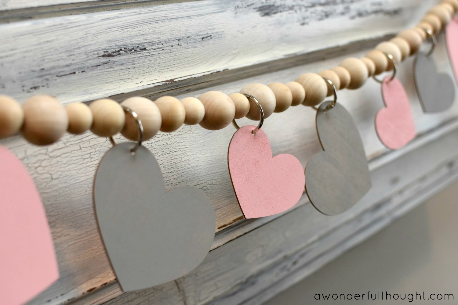 Pretty in Pink and Gray: Valentine's Day Mantel | awonderfulthought.com
