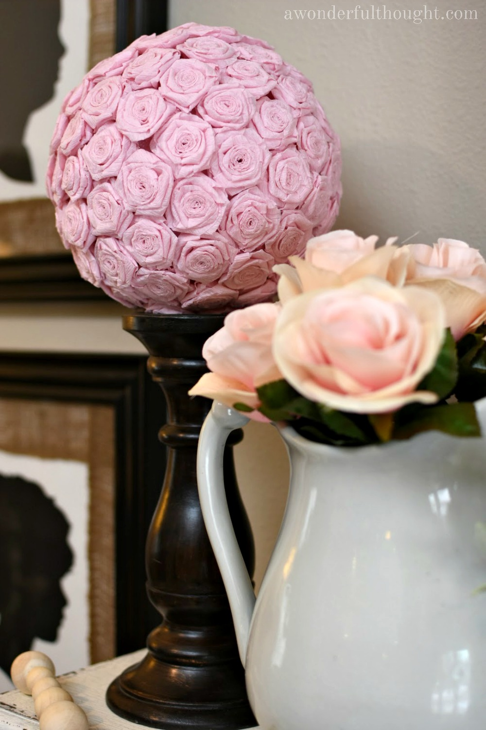 Diy crepe paper flower kissing ball a wonderful thought diy crepe paper flower kissing ball awonderfulthought mightylinksfo Image collections
