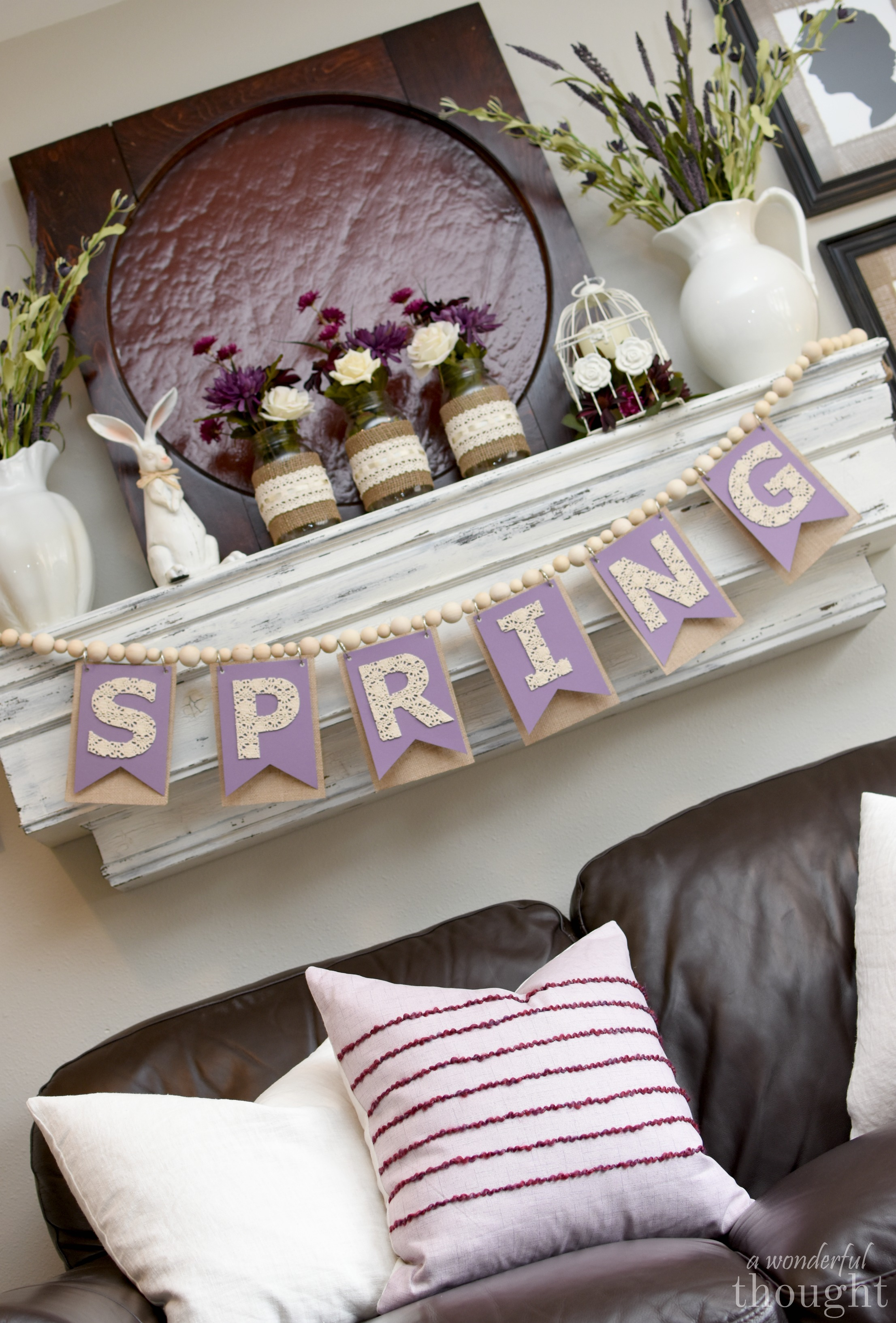 A Purple Palette Spring Mantel. Great decorating ideas for Spring or Easter | awonderfulthought.com