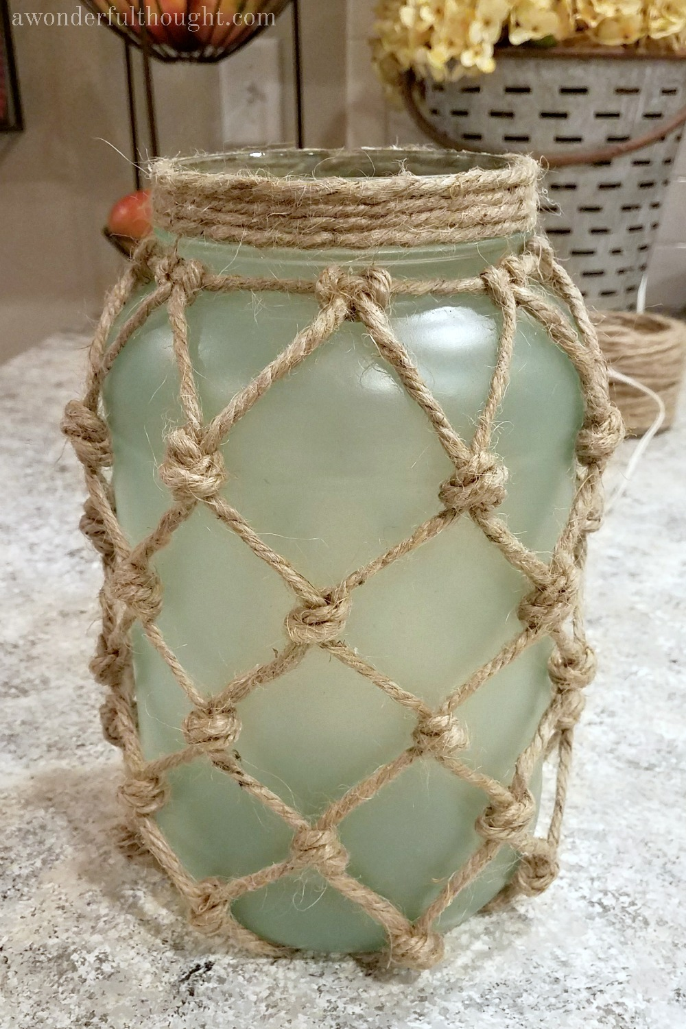 DIY Sea Glass Rope Lantern. Perfect for your beach/coastal decor | awonderfulthought.com