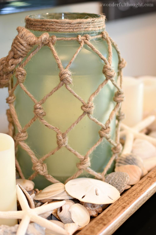 DIY Sea Glass Rope Lantern. Perfect for your beach/coastal decor   awonderfulthought.com