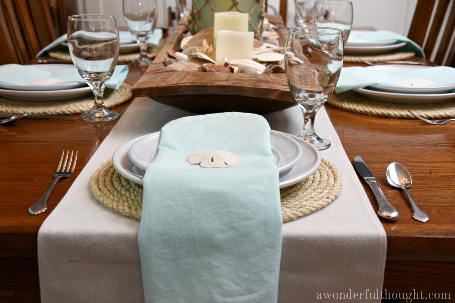 Coastal Summer Tablescape | awonderfulthought.com