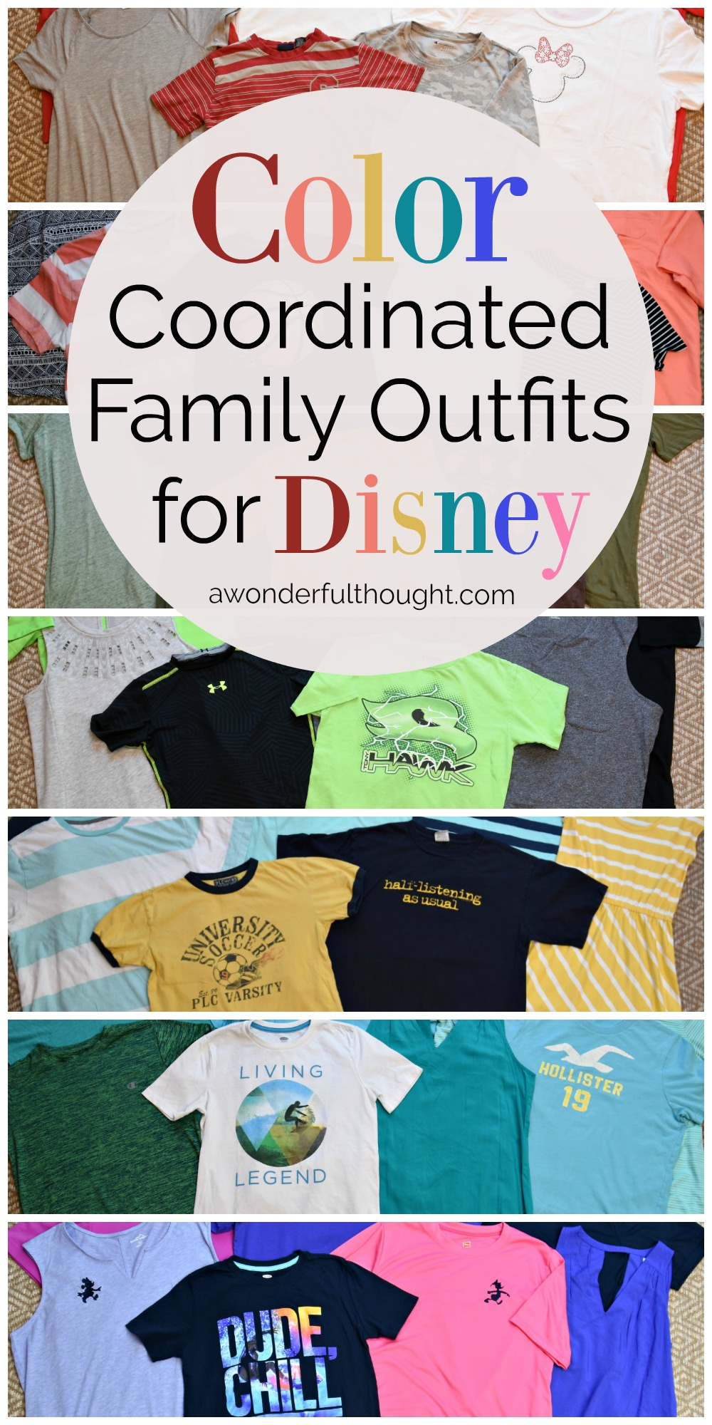Color coordinated family outfits for Disney. Learn what to wear to Disney World to look fabulous! | awonderfulthought.com