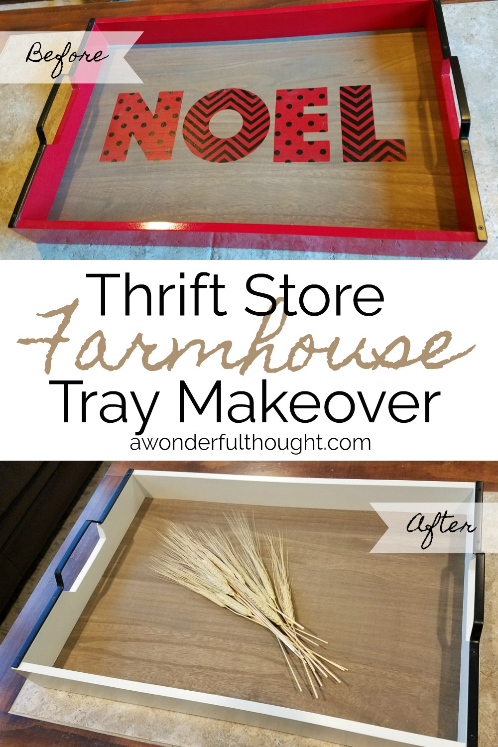 Farmhouse Tray Makeover from a Thrift Store Find | awonderfulthought.com