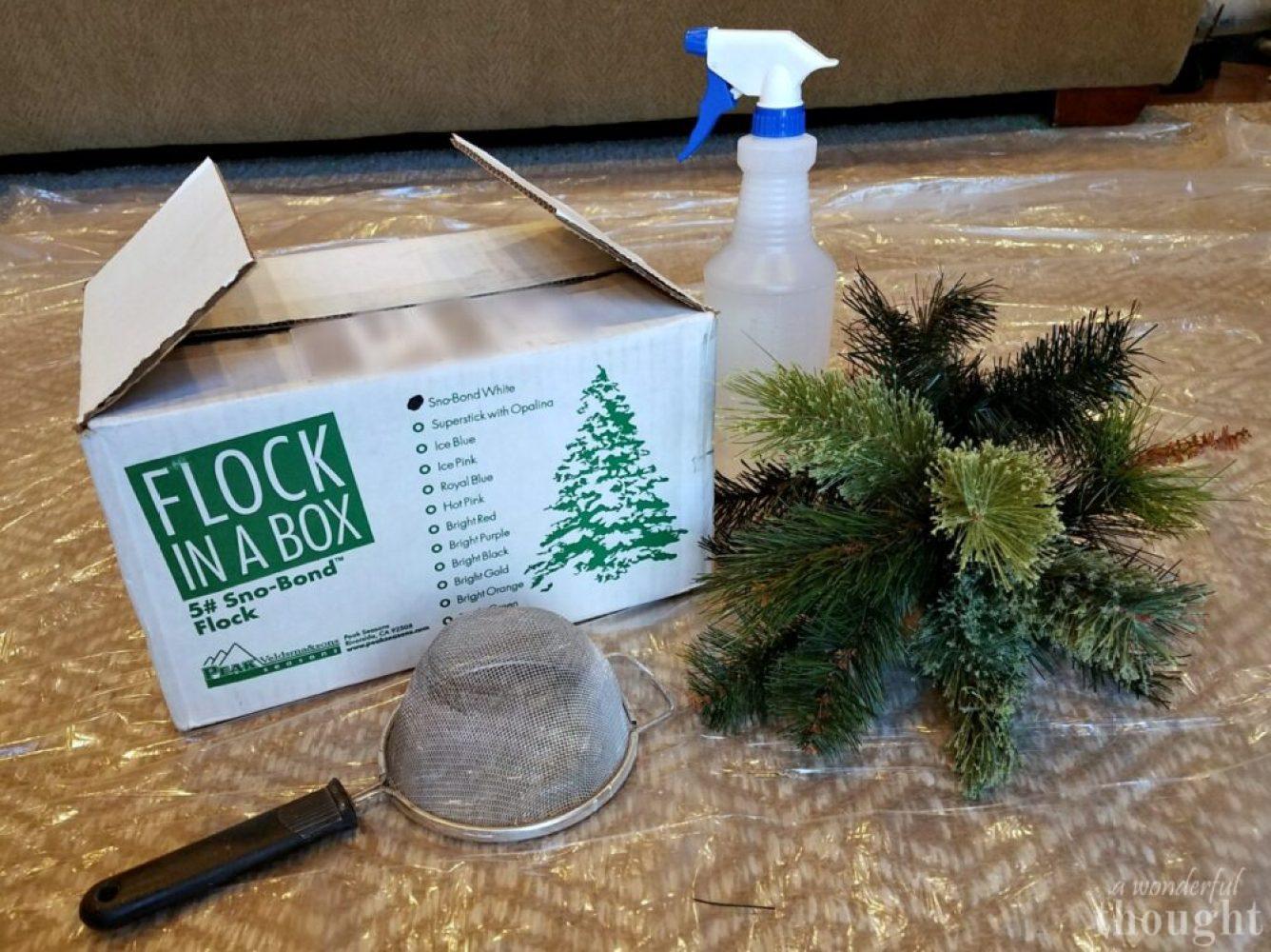 DIY Flocked Christmas Tree #christmastree #flockedtree #diyflockedtree #awonderfulthought.com