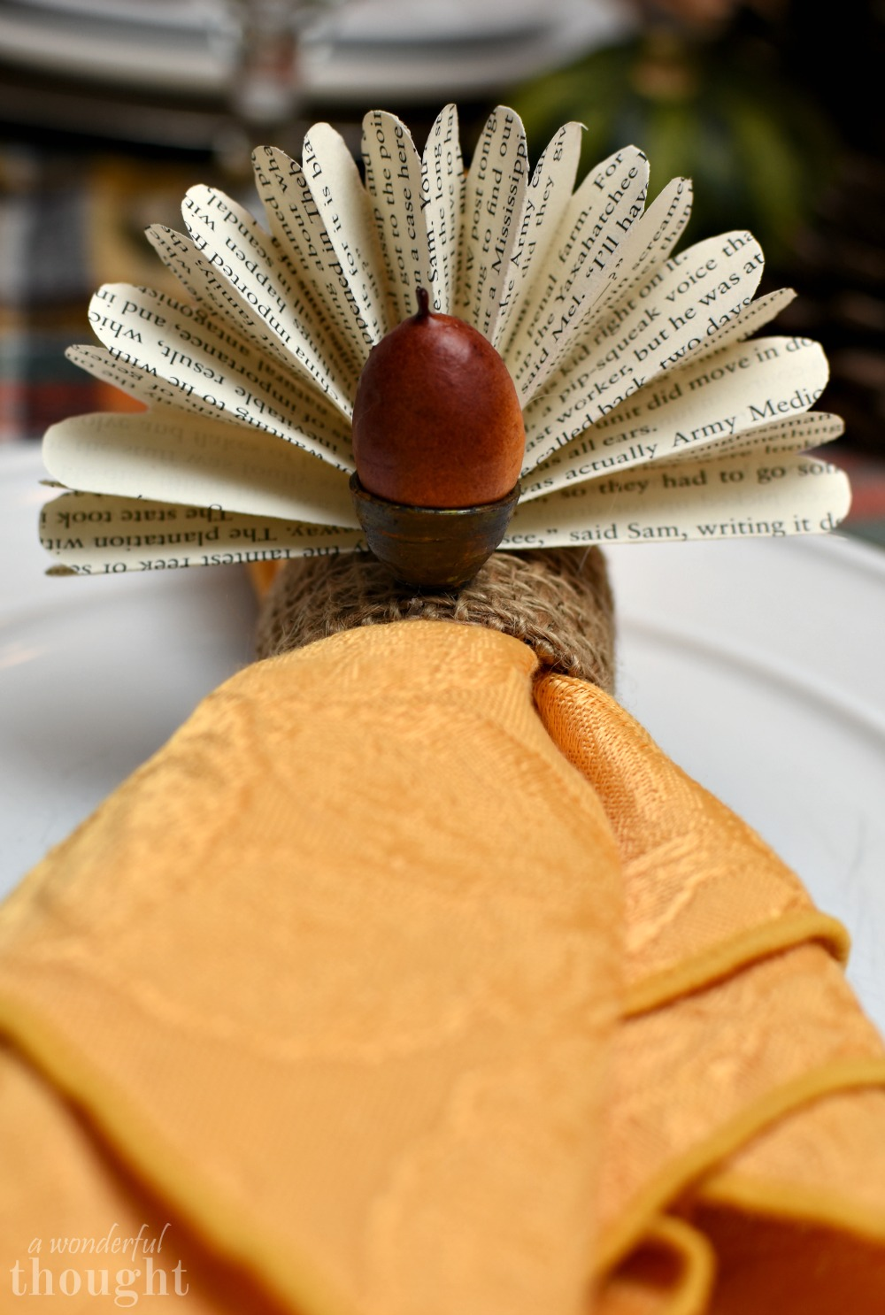 Thanksgiving Napkin Rings: Book Page Acorn Turkeys | awonderfulthought.com