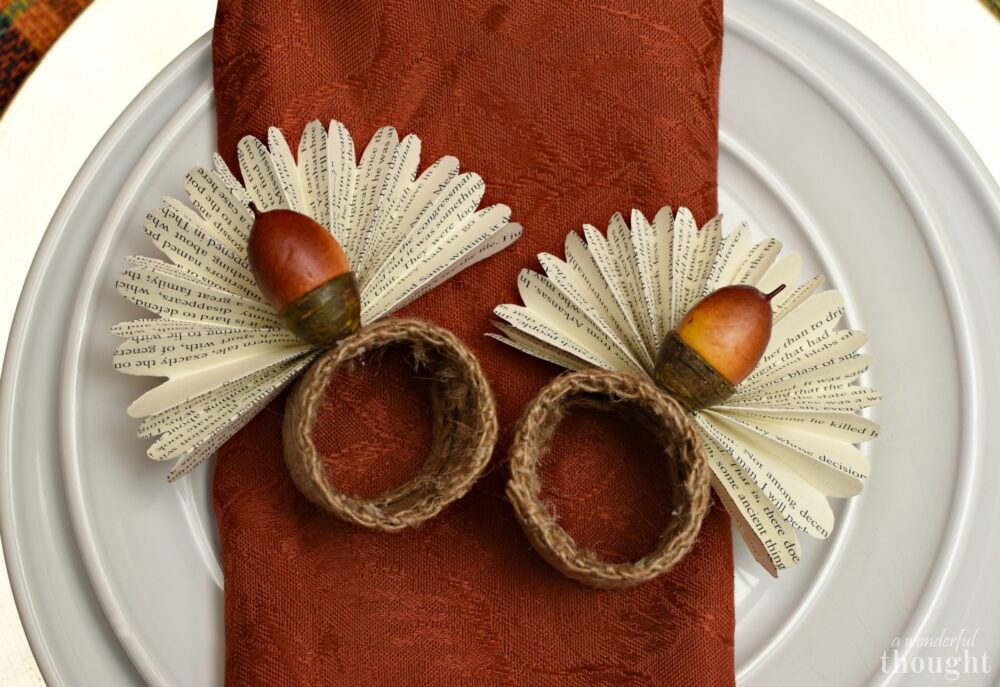 Thanksgiving Napkin Rings | Book Page Acorn Turkeys - A ...