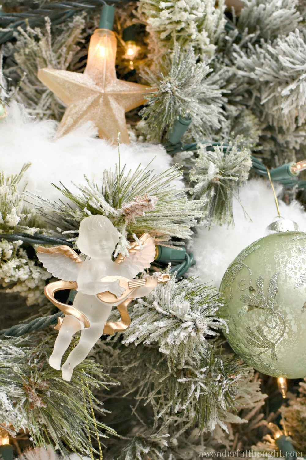 Silver Gold And Light Green Snowy Christmas Tree A Wonderful Thought