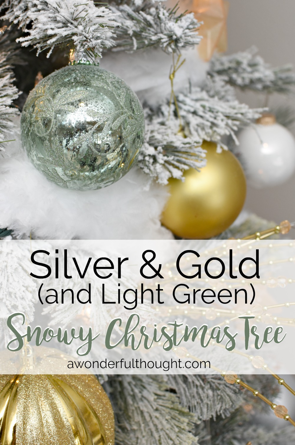 silver gold and light green snowy christmas tree christmastree christmastreeideas flockedchristmastree