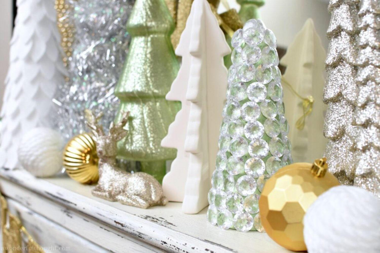 Dollar Store Craft | Sparkly Gem Christmas Tree - A Wonderful Thought