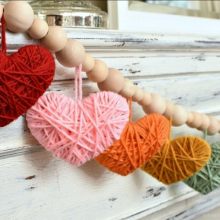 Multicolored Yarn Heart Garland