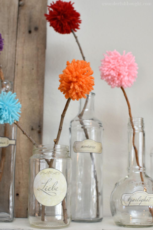Pom Pom Flowers and Free Vintage Labels #pompomcrafts #yarncrafts #vintagelabels #awonderfulthought