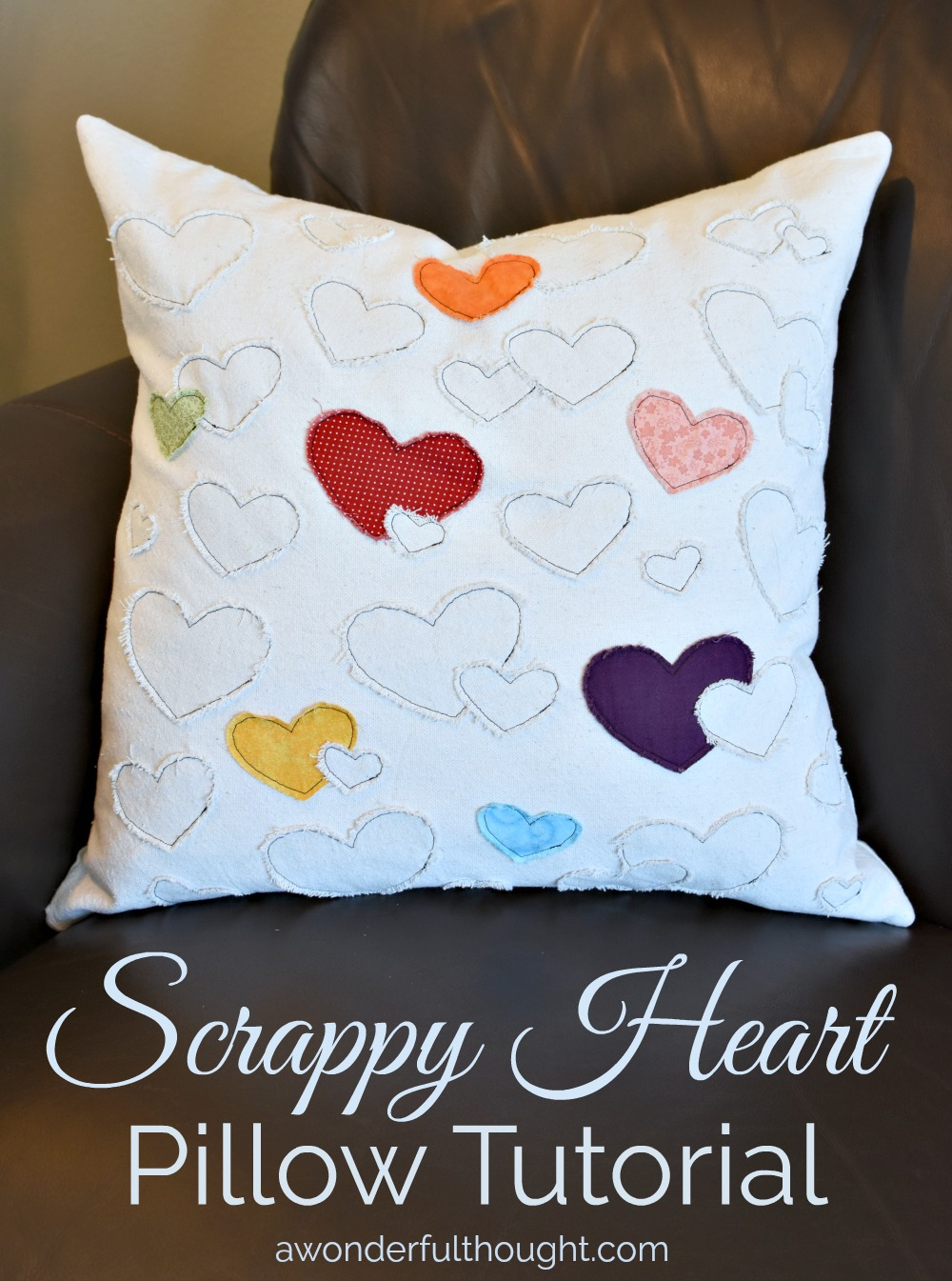This scrappy heart pillow is perfect for Valentine's Day or anytime! #diypillow #valentinesdecor #valentinespillow #awonderfulthought