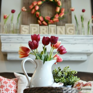 Spring mantel and living room decor #springmantel #springdecor #springlivingroom #awonderfulthought.com