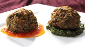 Veggie Balls with Red Pepper Rouille and Spinach Basil Pesto
