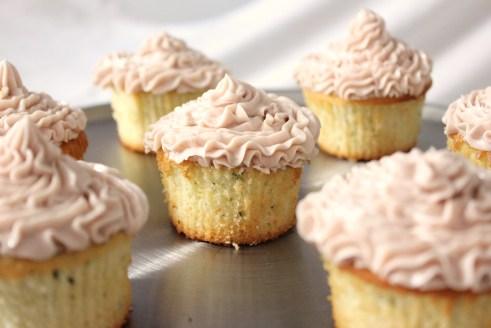 Lemon, Thyme Cupcakes with Raspberry Buttercream