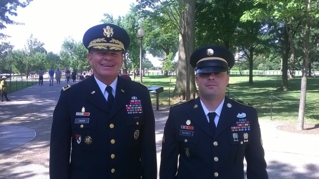 Lt. General Guy Swan and Sgt John Marek at the Wall in DC