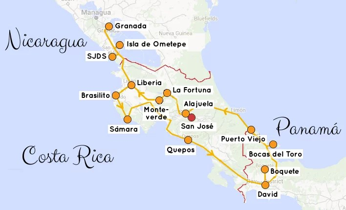 Backpacking-Rundreise-Route-Costa-Rica-NIcaragua-Panama
