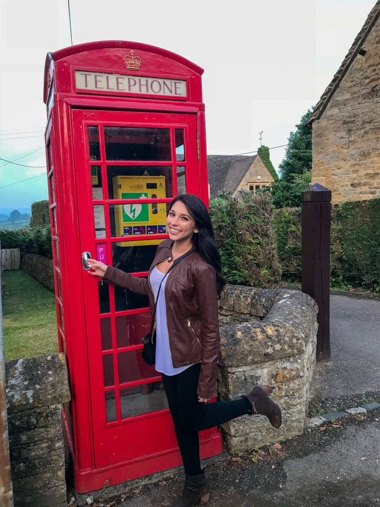 English phone booth in the Cotswolds, England