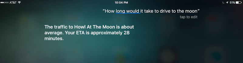 Siri Drive to the Moon