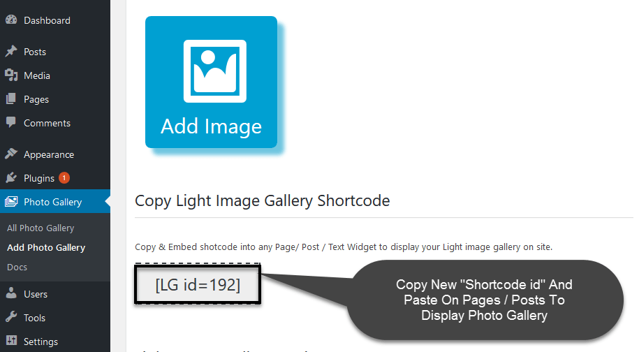Adding Gallery Shortcode to Page