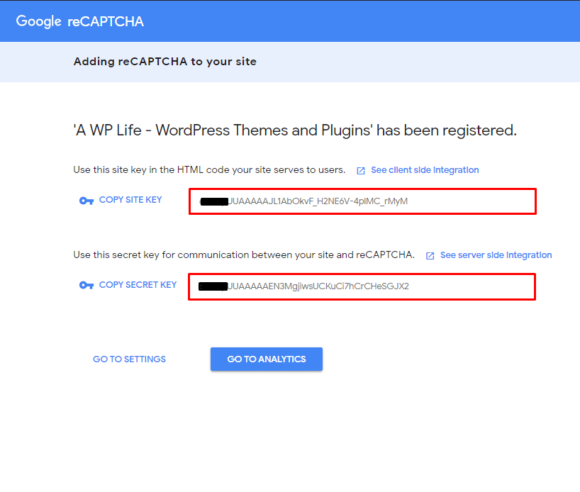 Google reCaptcha Site Key and Secret Key - A WP Life