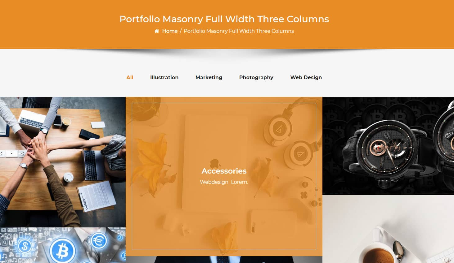 Crypto Premium WordPress Theme For Cryptocurrency Business and Blog Websites - A WP Life - Portfolio Masonry Full Width Three Column Layout Template