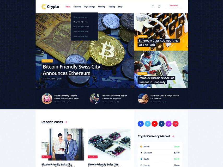 Crypton A Multi-Purpose Cryptocurrency WordPress Theme