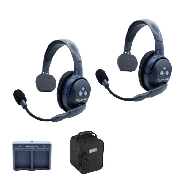 Eartec Ultralite HD 2 Person System W/ 2 Single Headsets, Batteries, Charger & Case Wireless Intercom [tag]