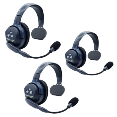 Eartec UL3S Ultralite HD 3 Person System W/ 3 Single Headsets, Batteries, Charger & Case Communications & IFB [tag]
