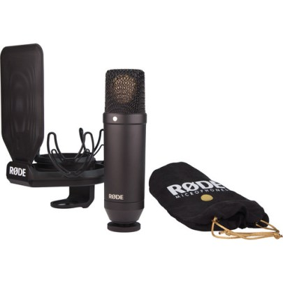 Rode NT-1 KIT 1″ Cardioid Condenser Microphone with SMR Shockmount Large Diaphragm Recording Microphones audio