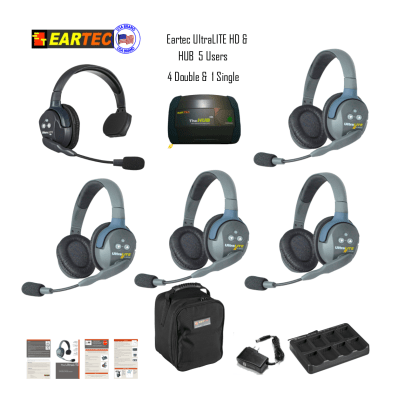 Eartec Hub514 Ultralite HD & Hub  5 Users 1 Single & 4 Double Headsets Intercom Systems Eartec