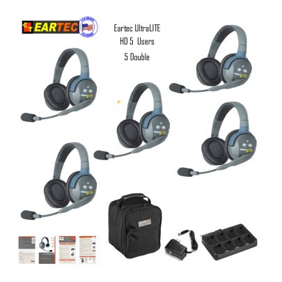 Eartec Ul5D Ultralite 5 Pers. System W/ 5 Double Headsets Communications & IFB Eartec