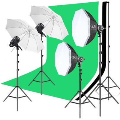 GVM P80S LED 4-Light Kit with Umbrellas, Softboxes, and Backdrops Continuous Lighting GVM