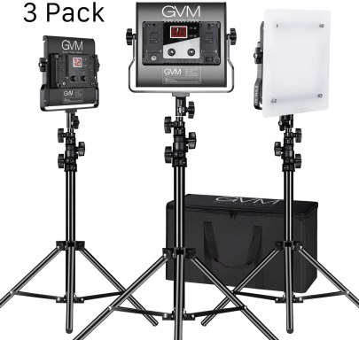 GVM 3 Pack LED 480LS-B3L KIT Video Lighting Kits with APP Control, Bi-Color Continuous Lighting GVM