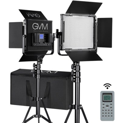 GVM 672S-B Bi-Color LED Video 2-Light Kit (Black) Continuous Lighting GVM